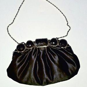 Cach'e Black Satin clutch handbag chain